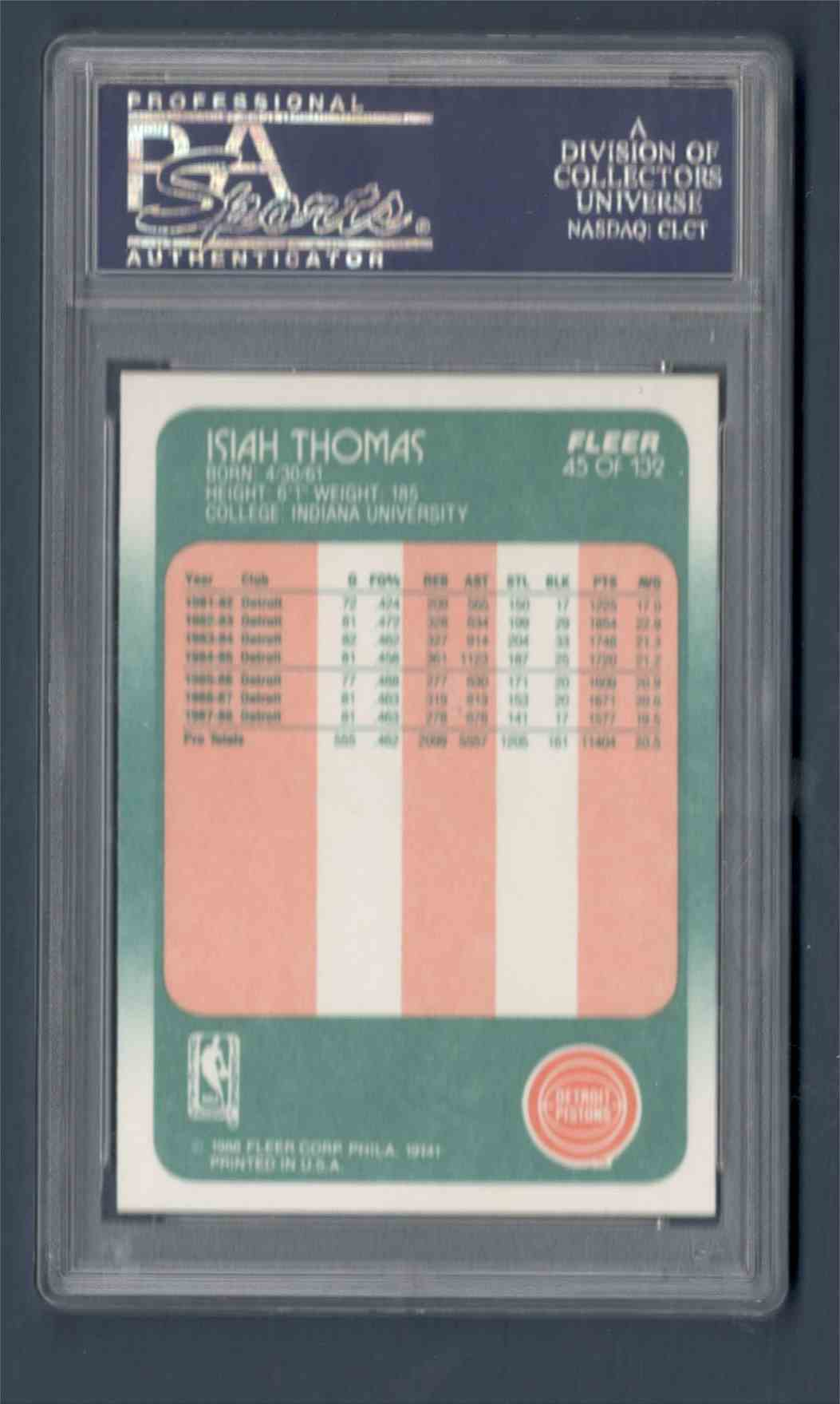 1988-89 Fleer Isiah Thomason #45 card back image