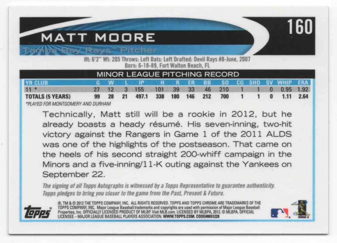 2012 Topps Chrome Rookie Autographs Matt Moore #160 card back image