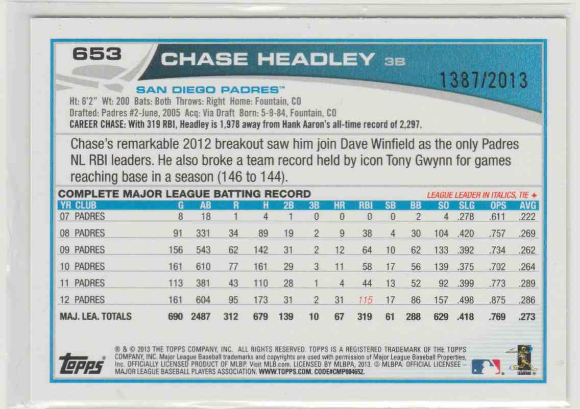 2013 Topps Gold Chase Headley #653 card back image
