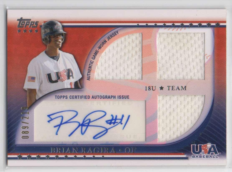 2010 USA Baseball Triple Jersey Autographs Brian Ragira #USAAR-BR card front image