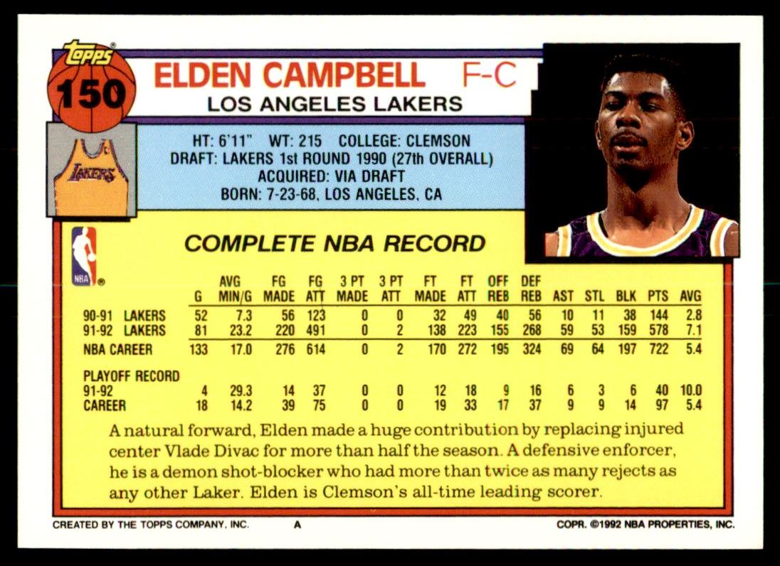 1992 93 Topps Elden Campbell 150 on Kronozio