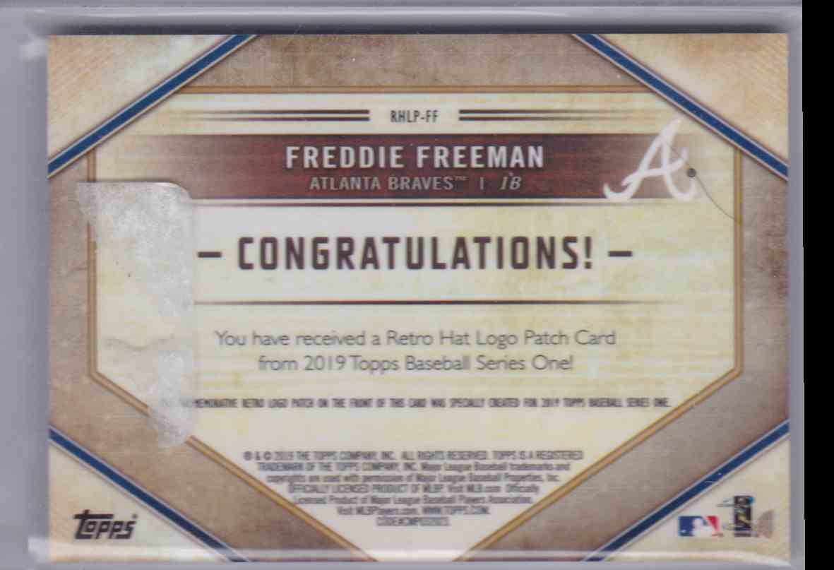 2019 Topps Series 1 Retro Hat Logo Freddie Freeman #RHLP-FF card back image