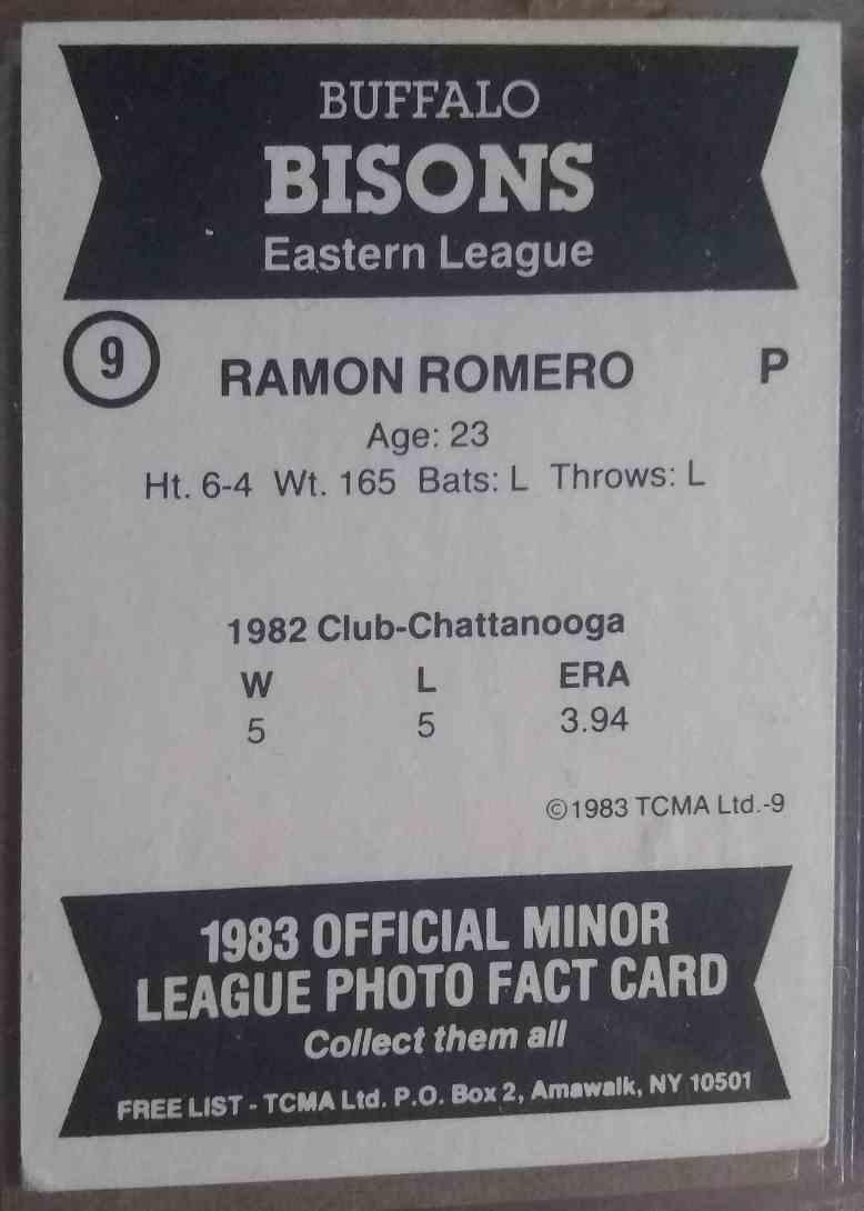 1983 TCMA Ramon Romero #9 card back image
