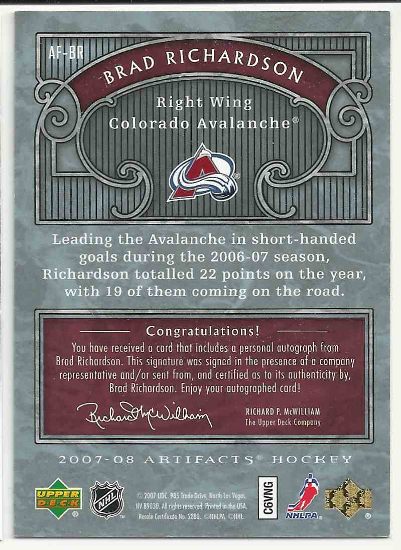 2007-08 Upper Deck Artifacts Auto-Facts Brad Richardson #AF-BR card back image