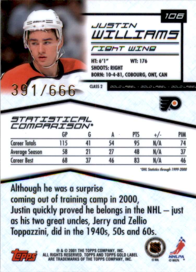 2000-01 Topps Gold Label Class 2 Justin Williams #106 card back image