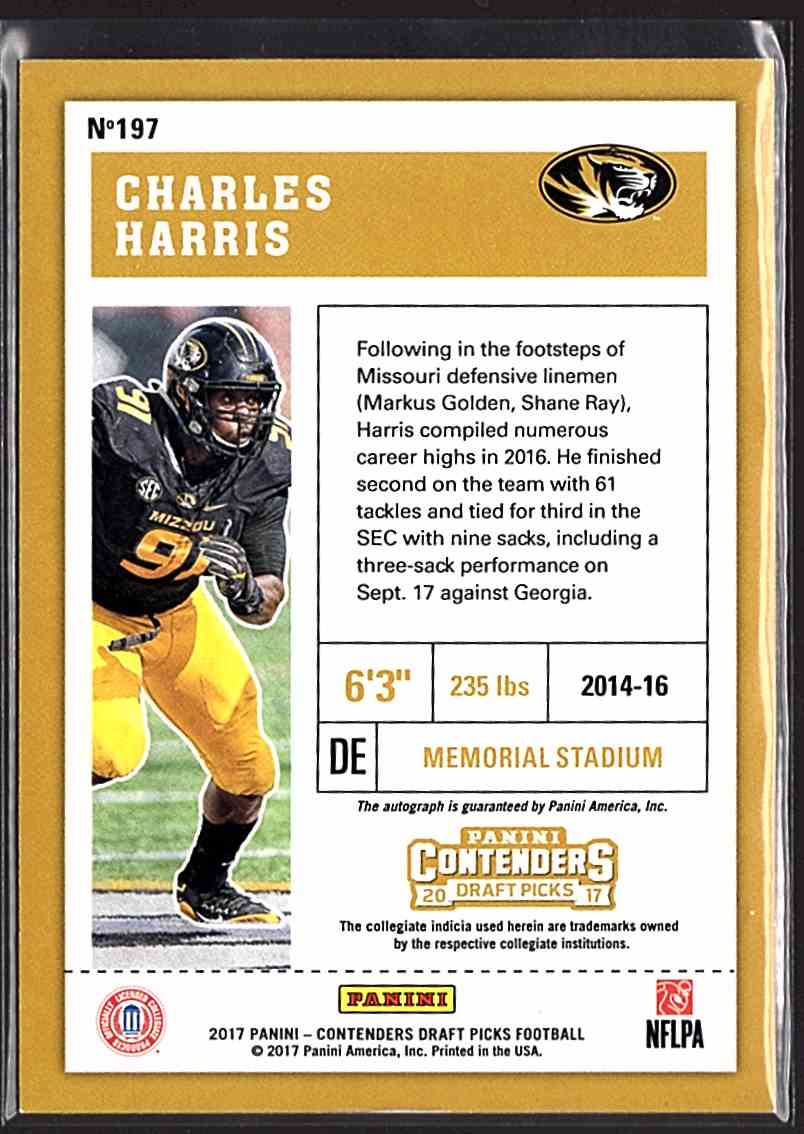 2017 Panini Contenders Draft Picks Charles Harris #197 card back image
