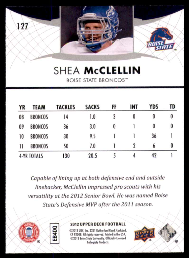 2012 Upper Deck Shea McClellin #127 card back image