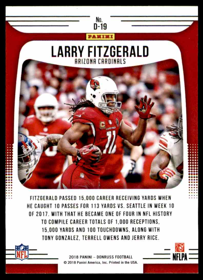 2018 Donruss Dominators Larry Fitzgerald #D-19 card back image