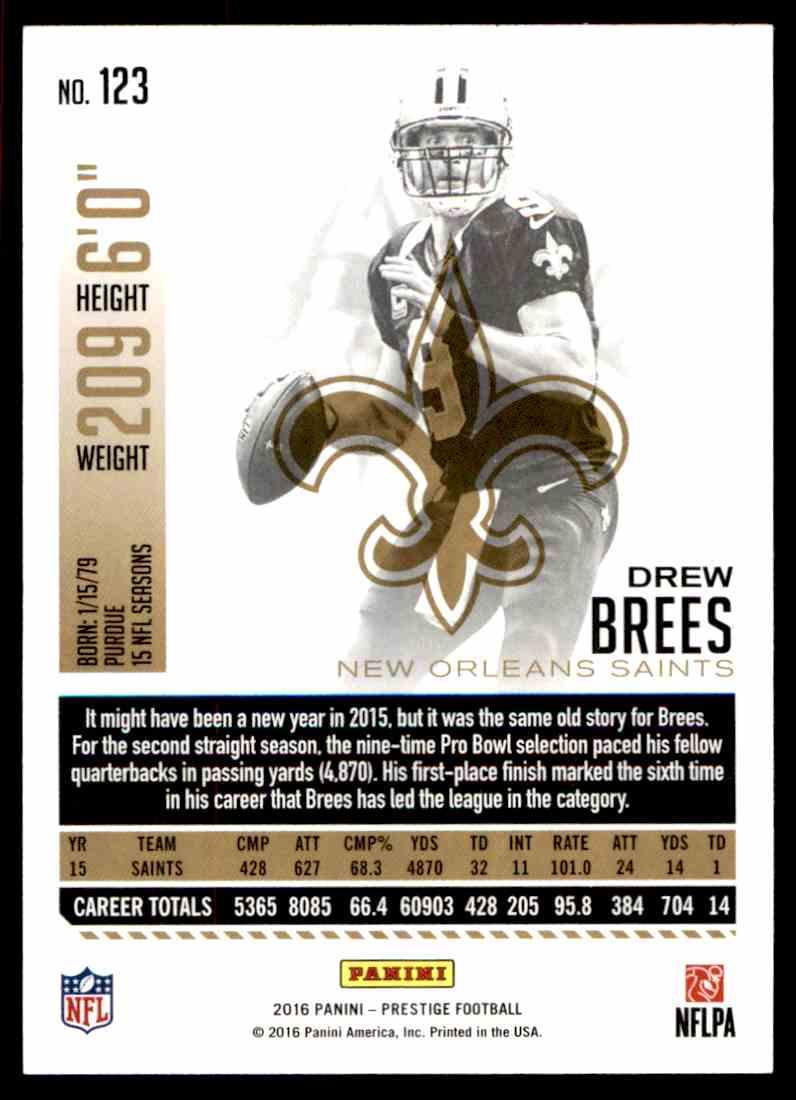 2016 Prestige Xtra Points Green Drew Brees #123 on Kronozio