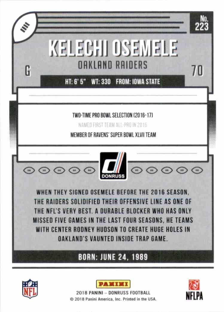 2018 Donruss Kelechi Osemele #223 card back image