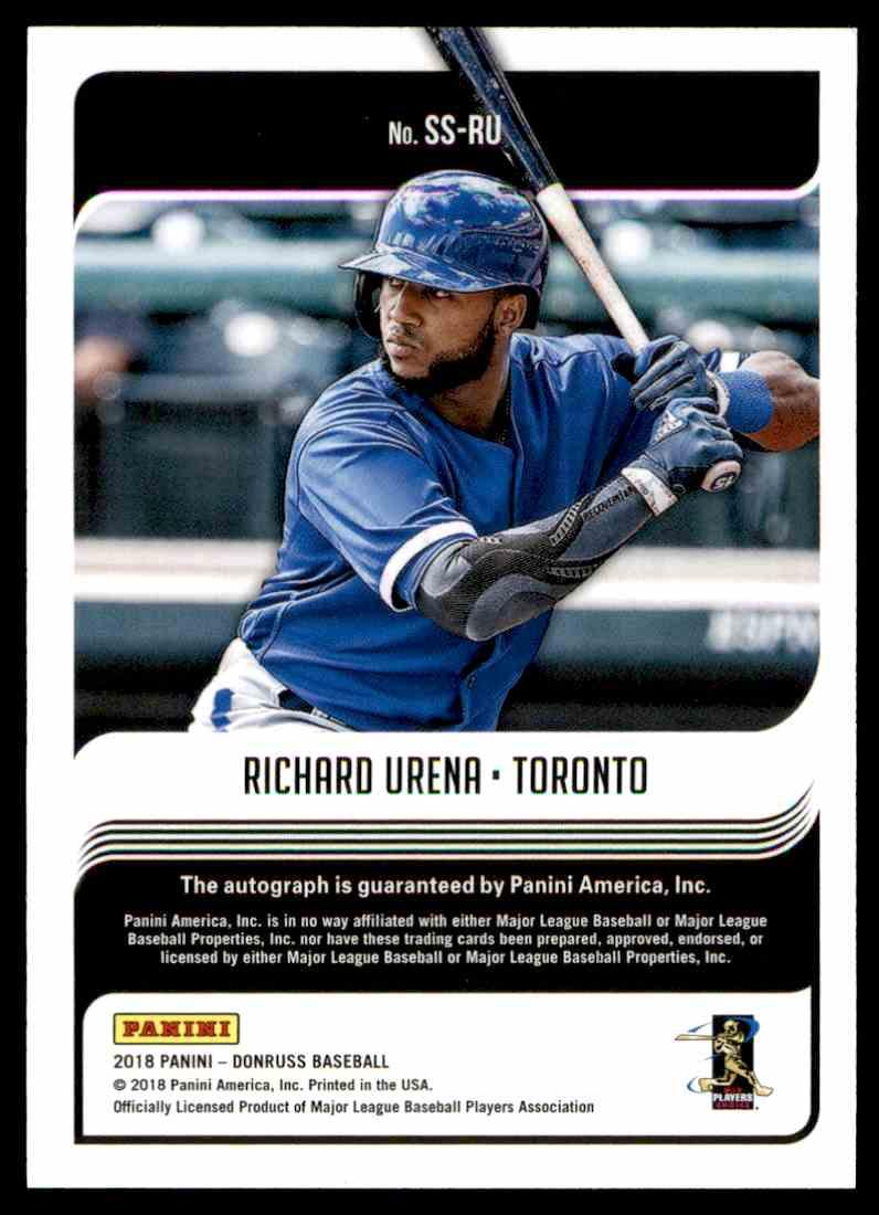2018 Panini Donruss Signature Series Richard Urena #SS-RU card back image