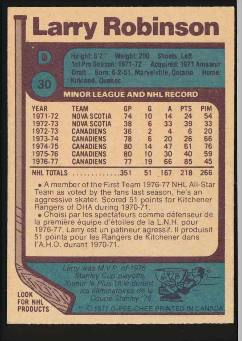 1977-78 O-Pee-Chee Larry Robinson #30 card back image