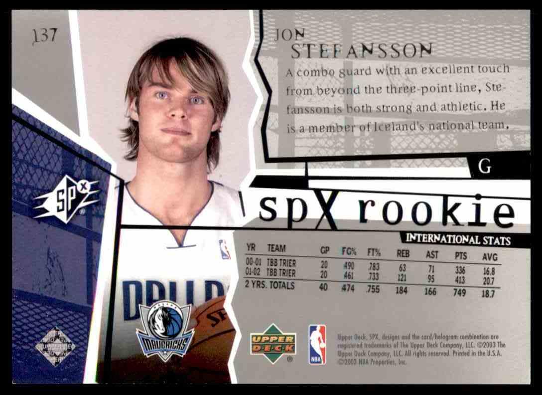 2003-04 SPx Jon Stefansson RC #137 card back image