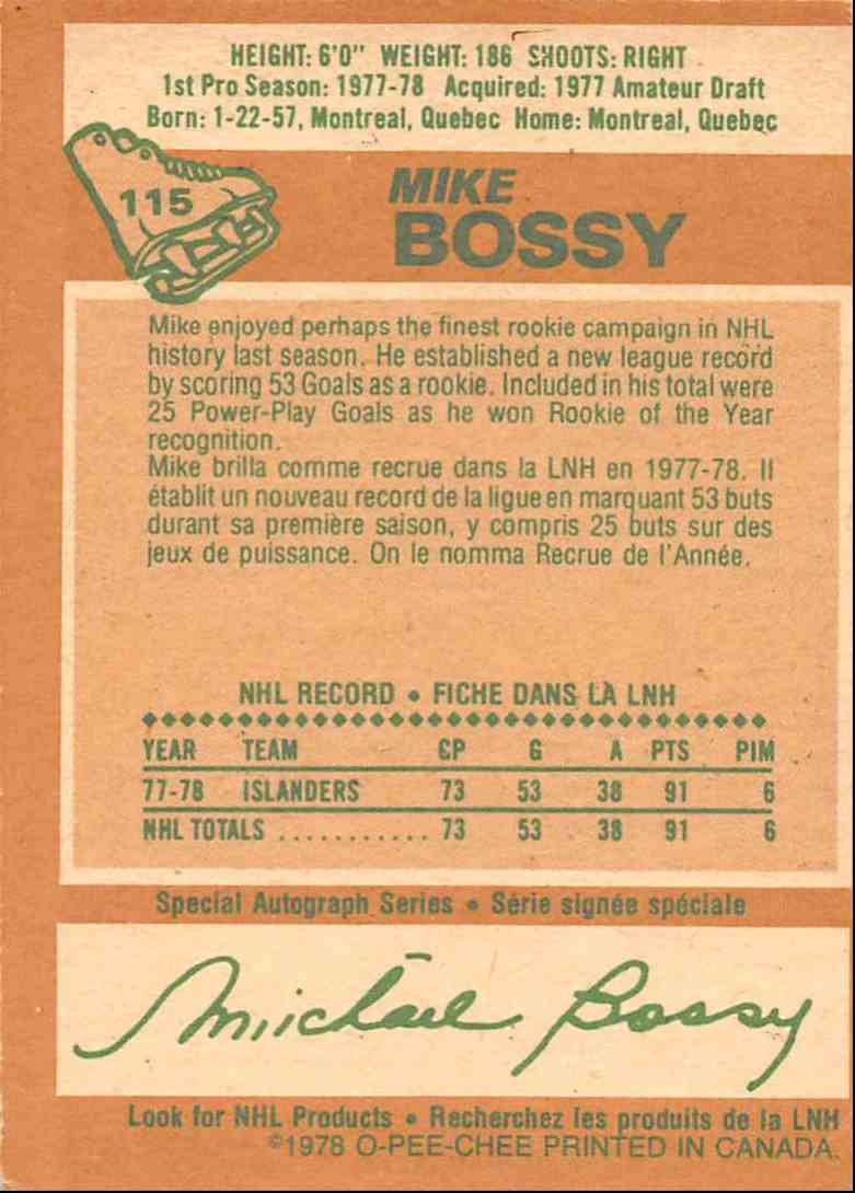 1978-79 O-Pee-Chee Mike Bossy #115 card back image