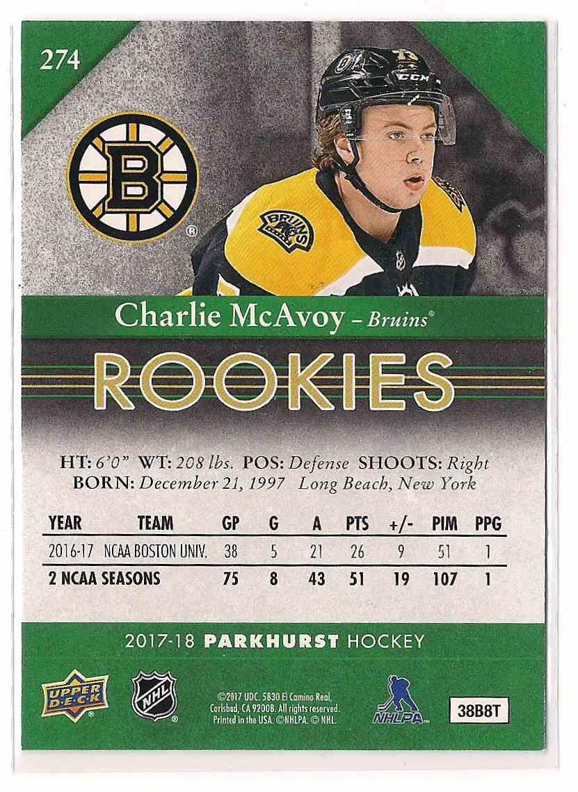 2017-18 Parkhurst Rookies Charlie McAvoy #274 card back image