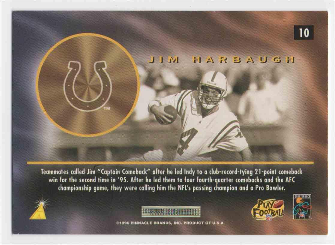 1996 Pinnacle Mint Bronze Jim Harbaugh #10 card back image