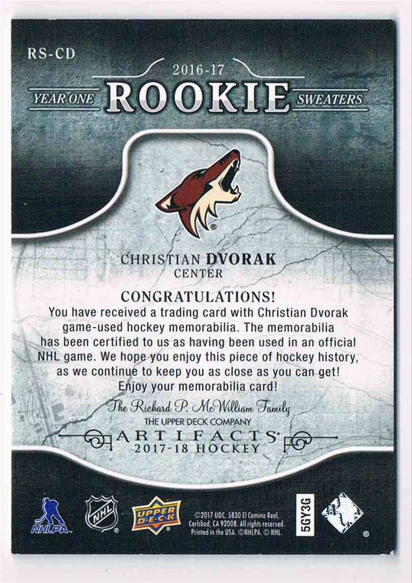 2017-18 Artifacts Year One Rookie Sweaters Christian Dvorak #RS-CD card back image