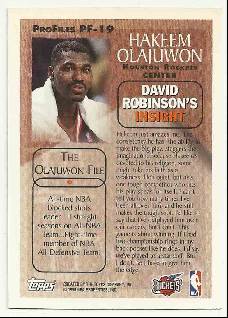 1995-96 Topps Pro Files Hakeem Olajuwon #PF-19 card back image