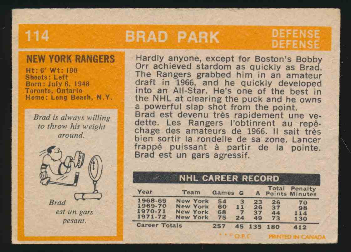 1972-73 0-Pee-Chee Brad Park - Vg #114 card back image