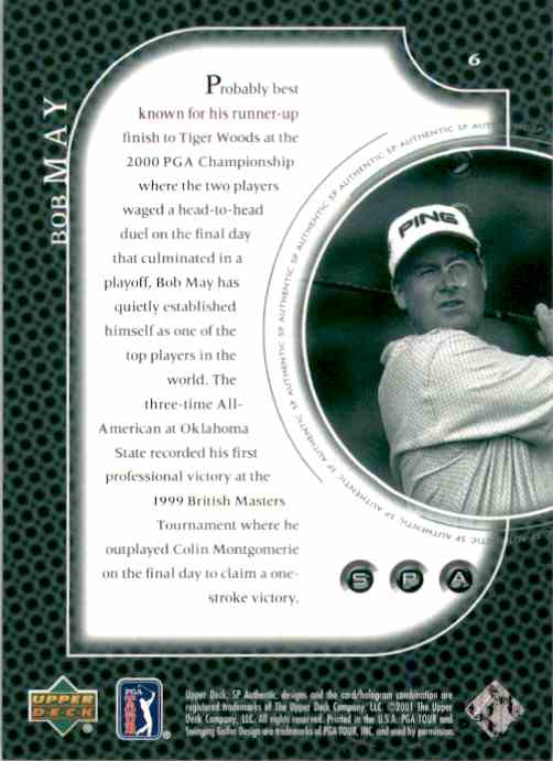 2001 SP Authentic Preview Bob May #6 card back image