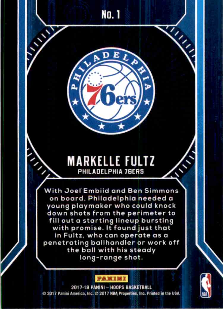 2017-18 Hoops Faces Of The Future Markelle Fultz #1 card back image