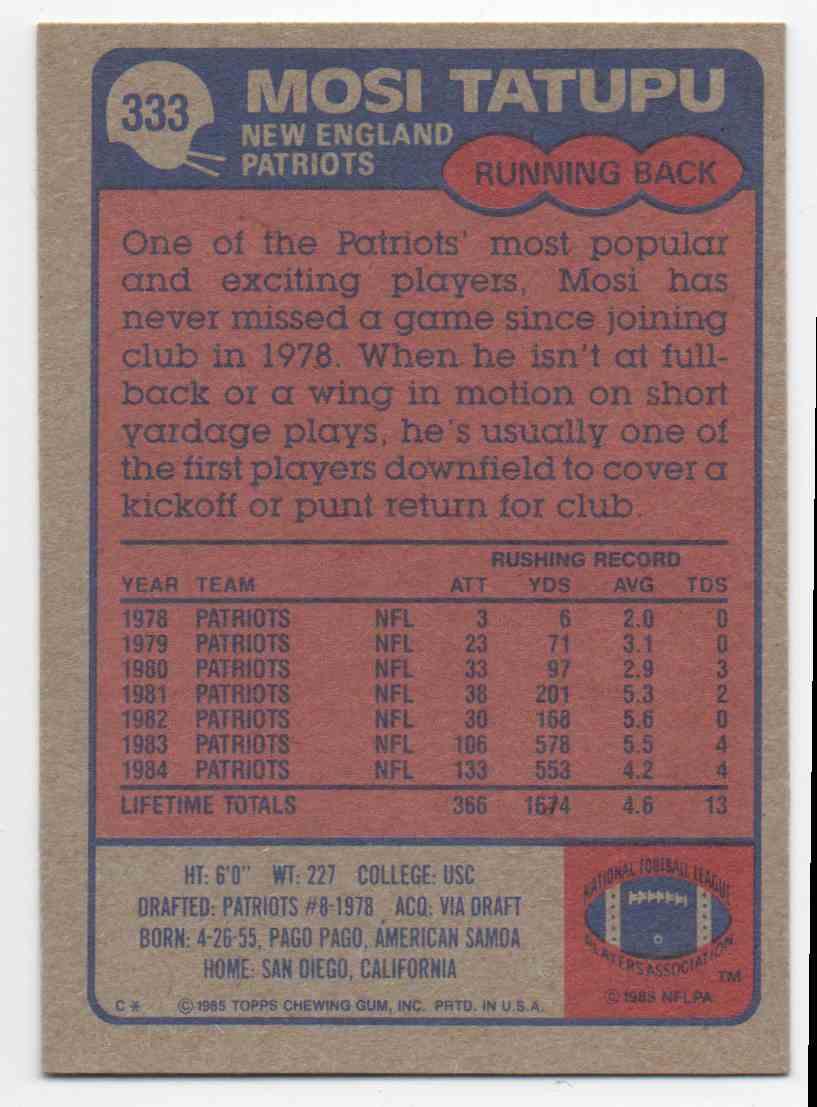 1985 Topps Mosi Tatupu #333 card back image