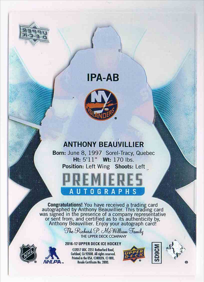 2016-17 Upper Deck Ice Premieres Autographs Anthony Beauvillier #IPA-AB card back image