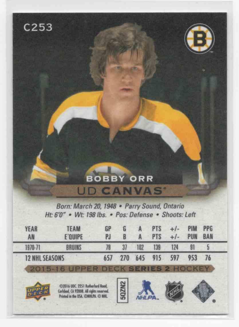 2015-16 Upper Deck Canvas Retired Stars Bobby Orr #C253 card back image