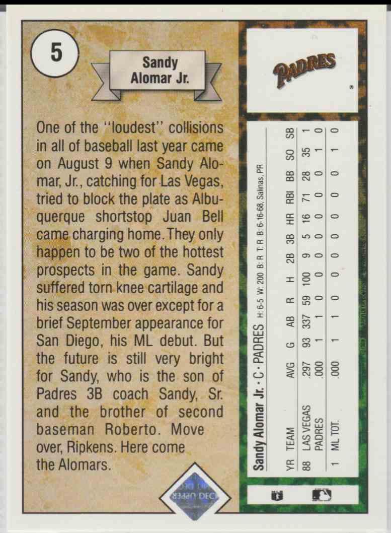 1989 Upper Deck Sandy Alomar JR. #5 card back image