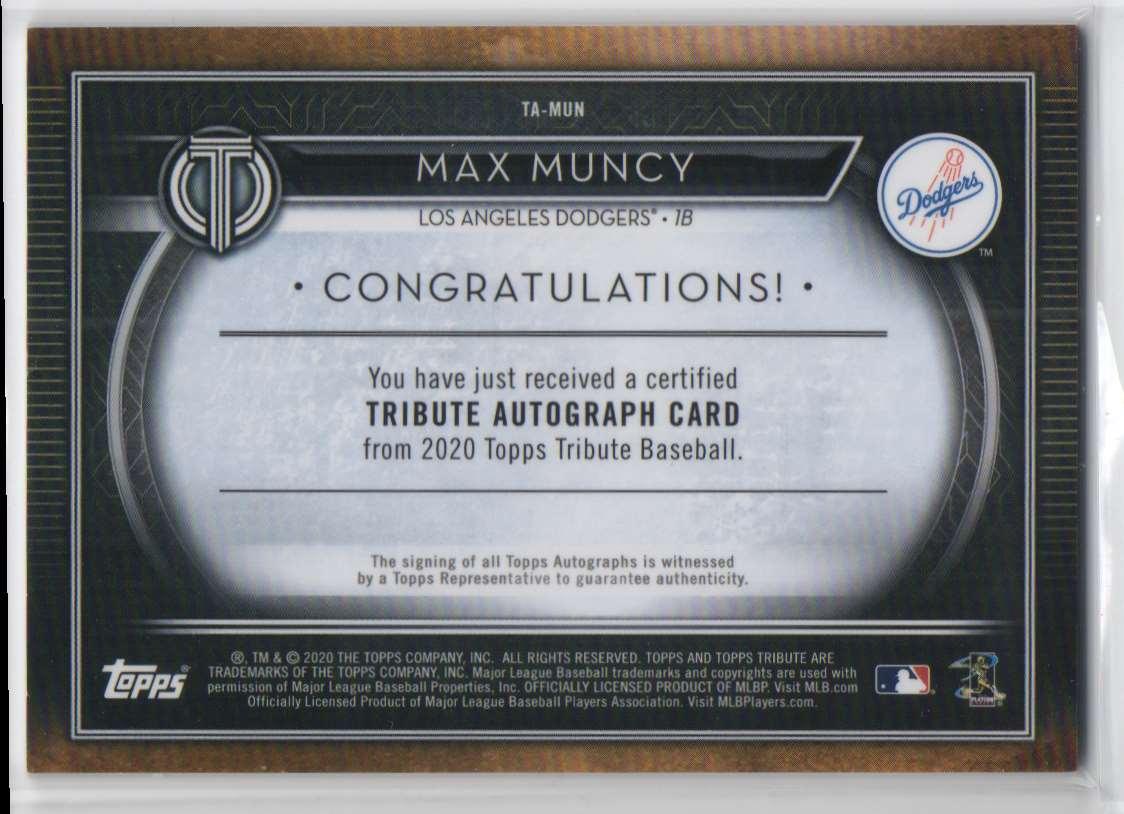2020 Topps Tribute Autographs Blue Max Muncy #TA-MUN card back image