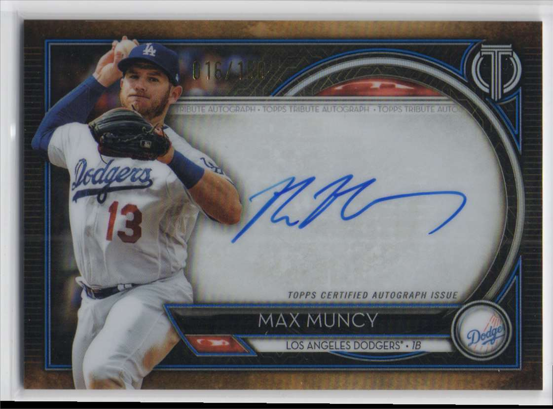2020 Topps Tribute Autographs Blue Max Muncy #TA-MUN card front image