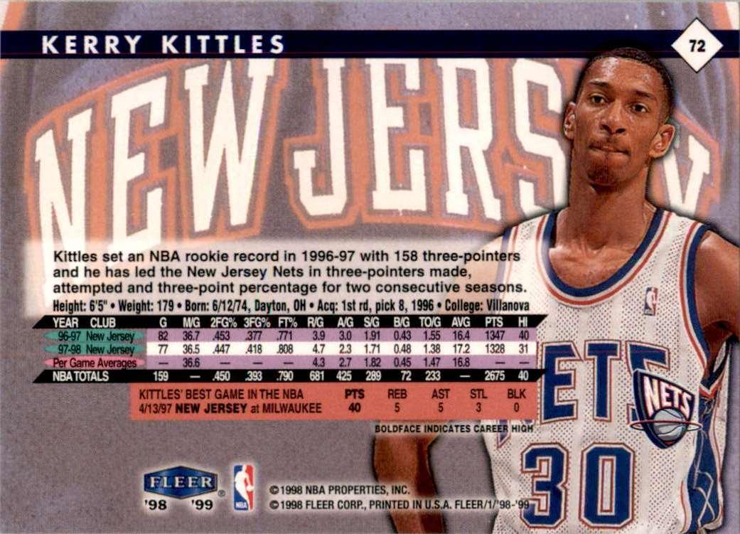 1998-99 Fleer Kerry Kittles #72 card back image