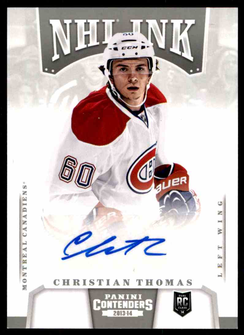 2013-14 Panini Contenders NHL Ink Christian Thomas #I-CT card front image
