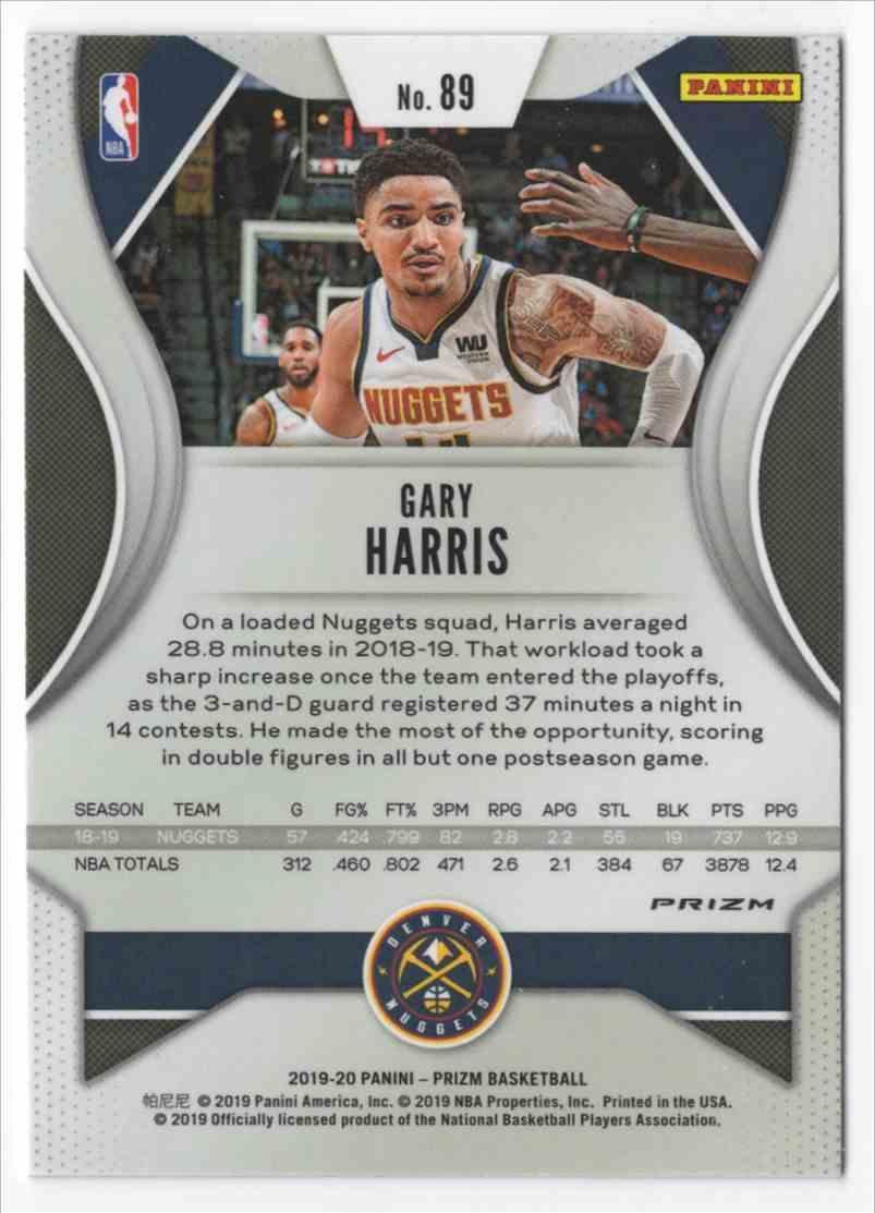 2019-20 Panini Prizm Prizms Green Gary Harris #89 card back image