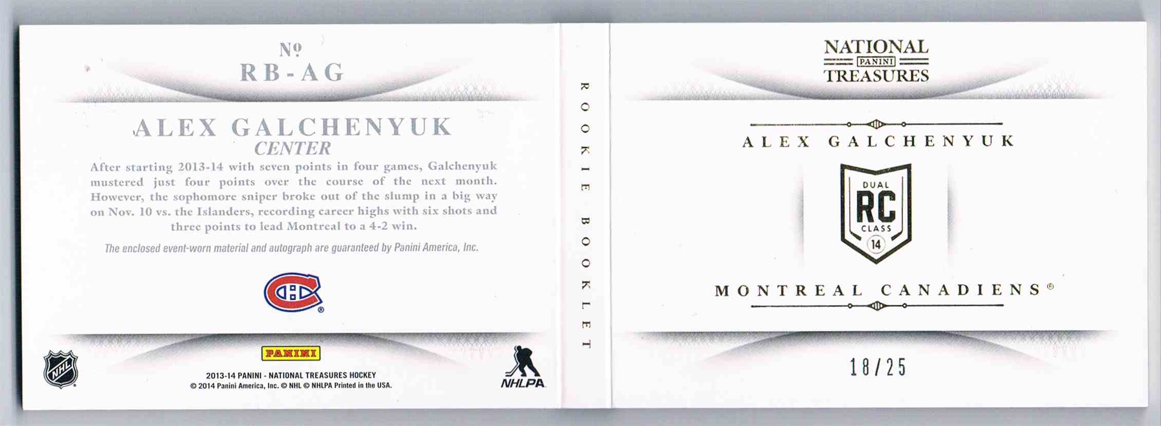 2013-14 Panini National Treasures Rookie Jumbo Jerseys Booklet Autographs Patch Alex Galchenyuk #RB-AG card back image