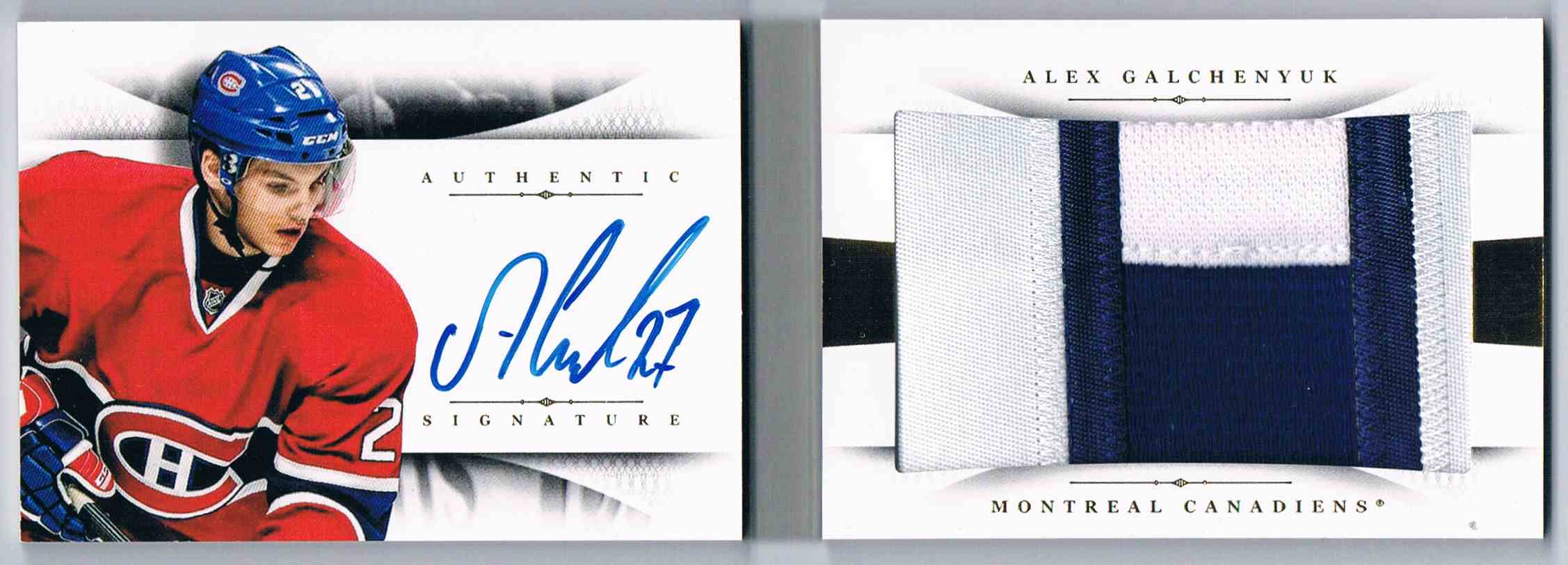 2013-14 Panini National Treasures Rookie Jumbo Jerseys Booklet Autographs Patch Alex Galchenyuk #RB-AG card front image