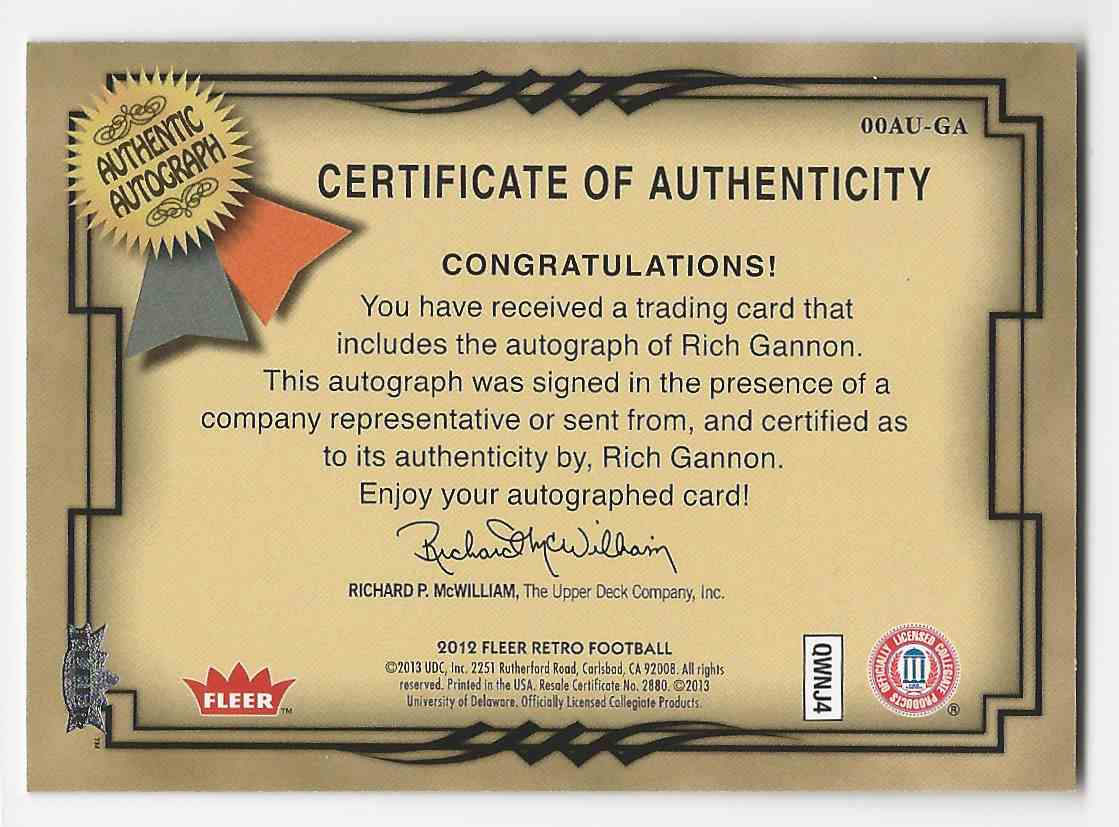 2012 Fleer Retro Autographics 2000 Rich Gannon #00AU-GA card back image