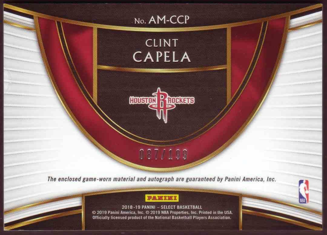 2018-19 Panini Select Autographed Memorabilia Clint Capela #AM-CCP card back image
