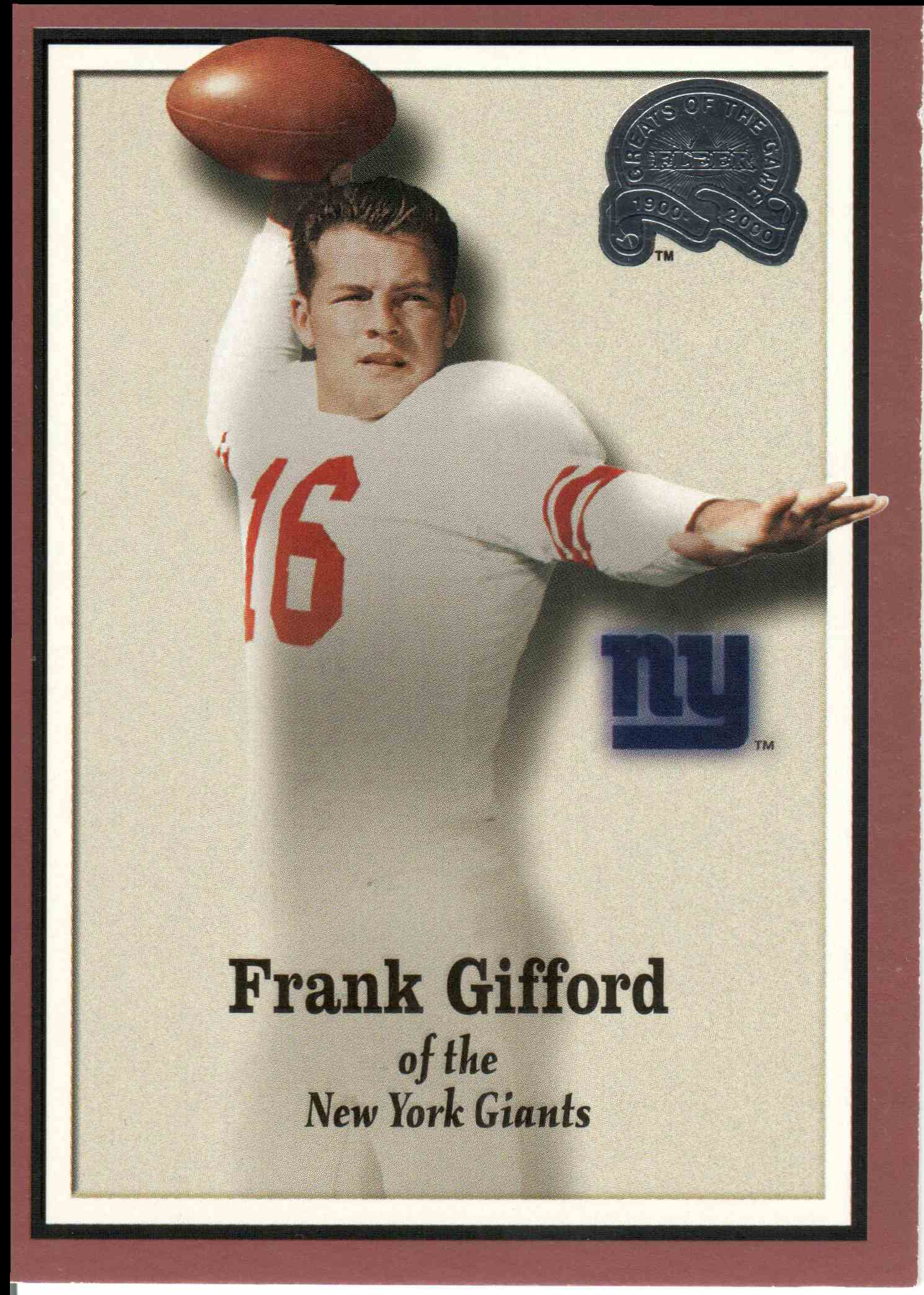 2000 Fleer Greats Of The Game Frank Gifford #80 card front image
