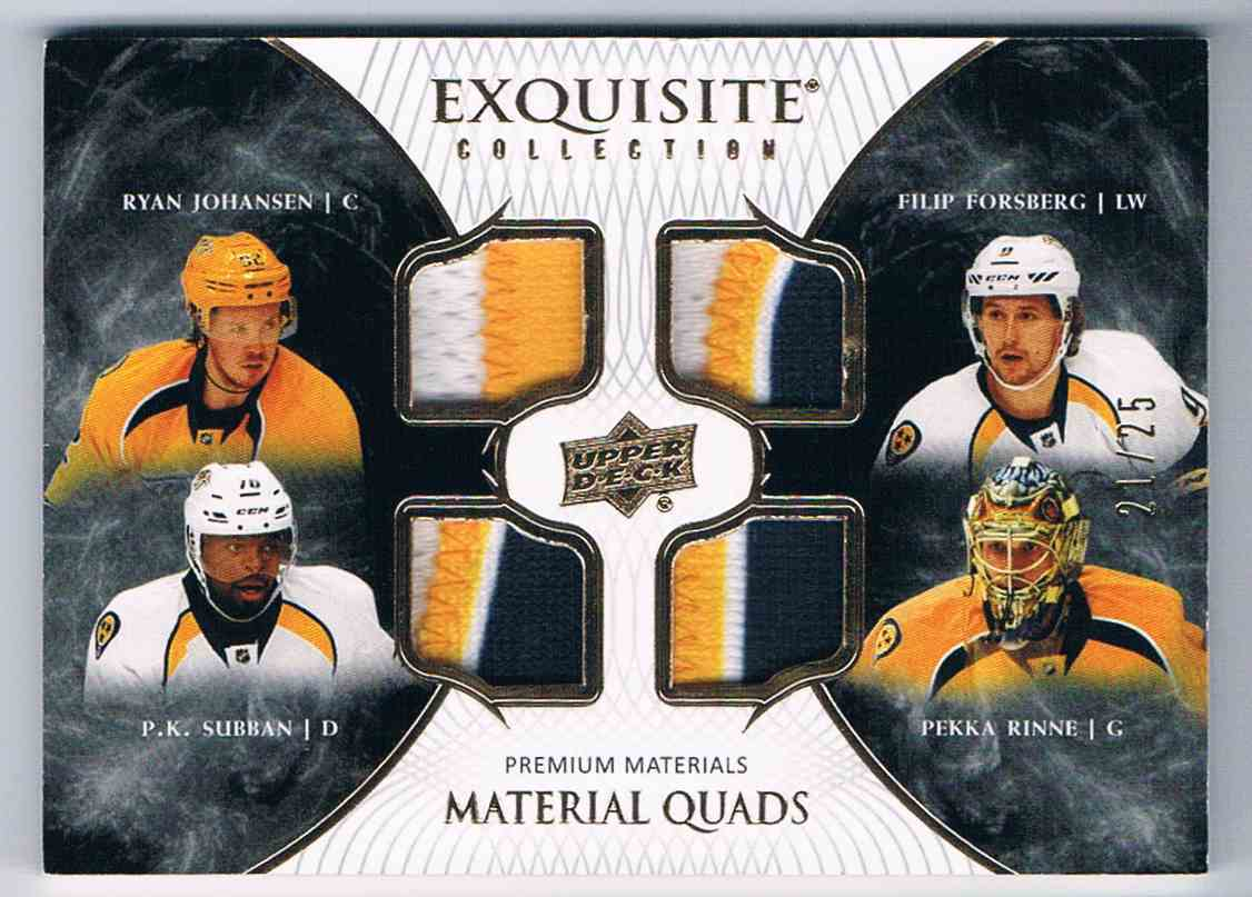 2017-18 Exquisite Collection Material Quads Ryan Johnssen Filip Forberg Pk Subban Pekka Rinne #EQ-NP card front image