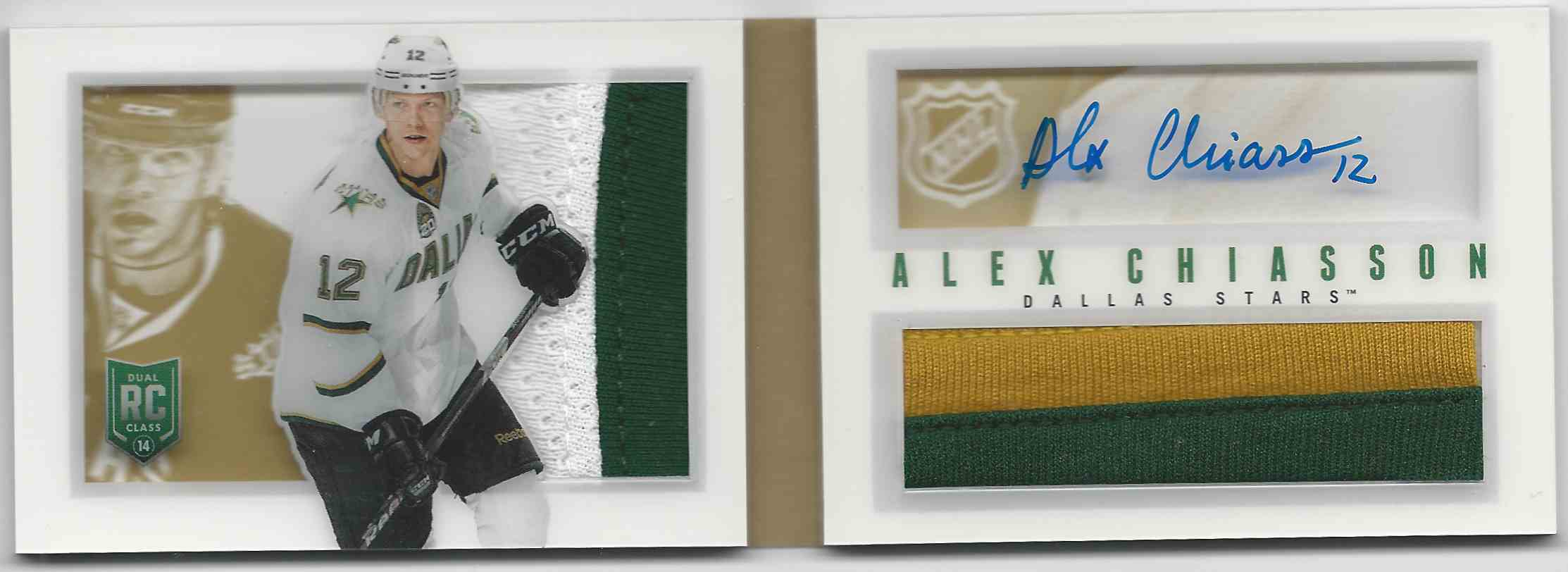 2013-14 Panini Playbook Rookie Jerseys Autographs Prime Alex Chiasson #108 card front image