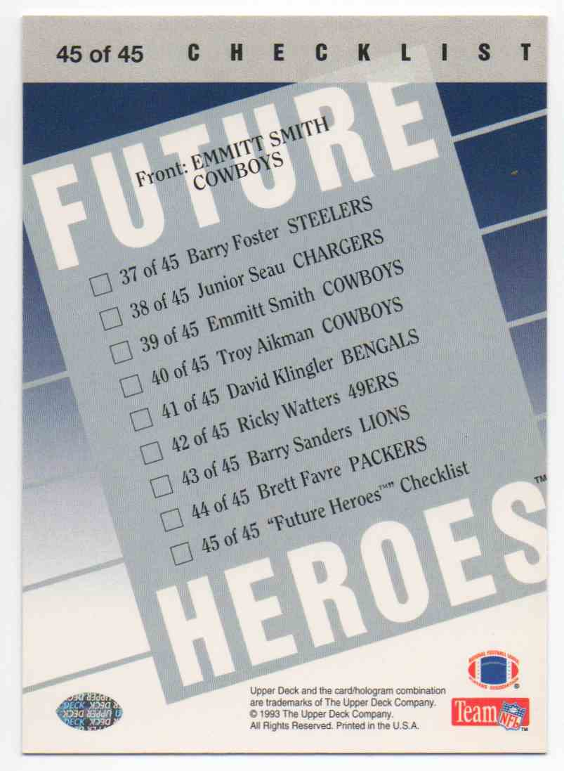 1993 Upper Deck Future Heroes Emmitt Smith #45 card back image