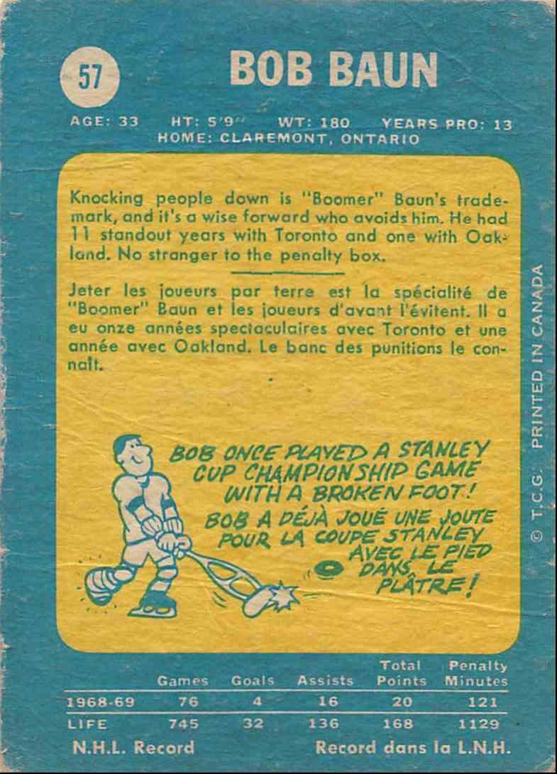 1969-70 O-Pee-Chee Bob Baun #57 card back image