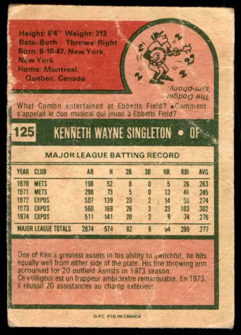 1975 O-Pee-Chee Ken Singleton #125 card back image