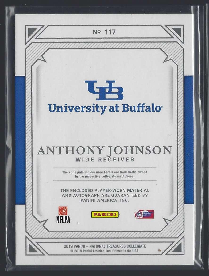 2019 Panini National Treasures Collegiate Anthony Johnson #117 card back image