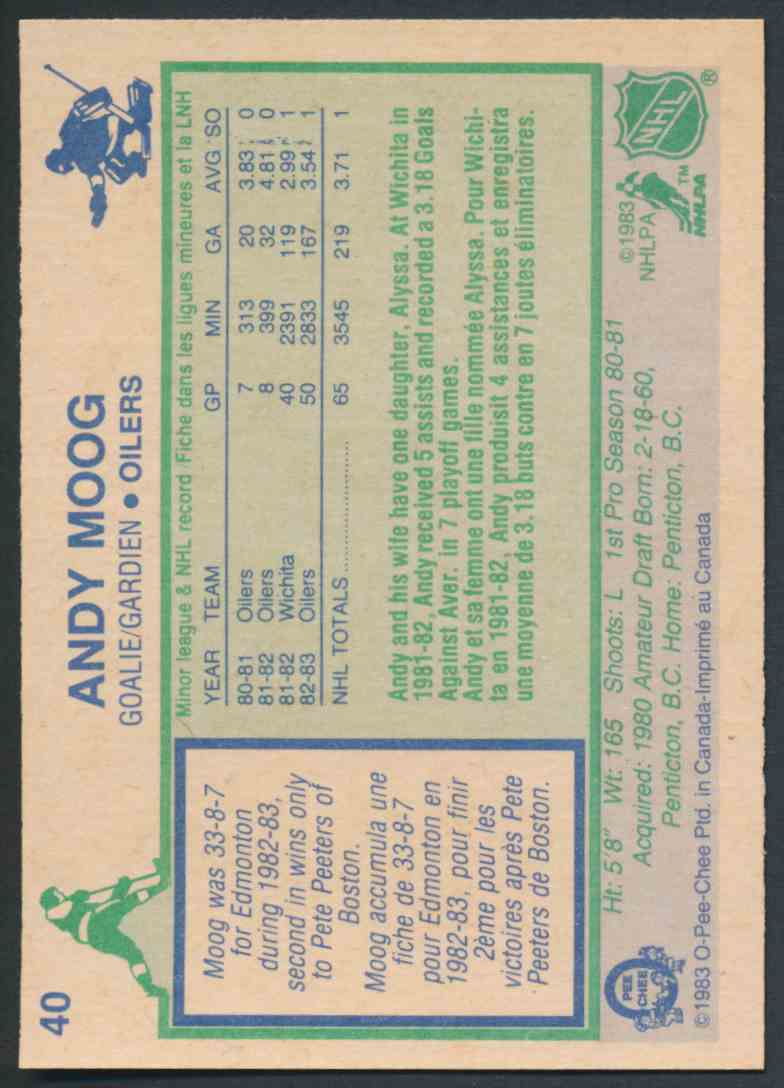 1983-84 O-Pee-Chee Andy Moog - Mint #40 card back image