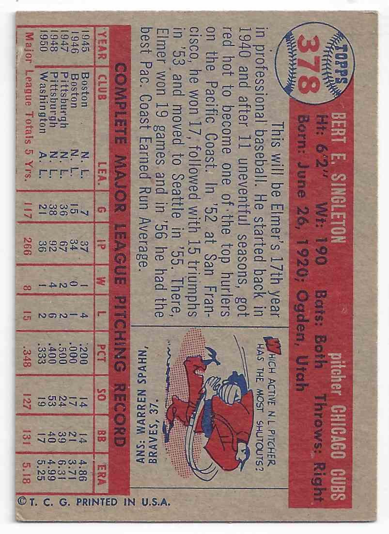 1957 Topps Elmer Singleton #378 card back image