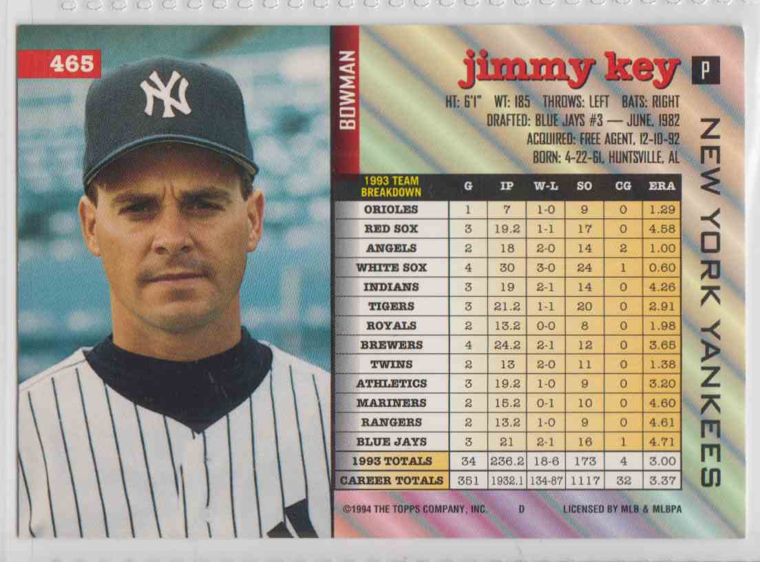 1994 Bowman Jimmy Key 465 On Kronozio