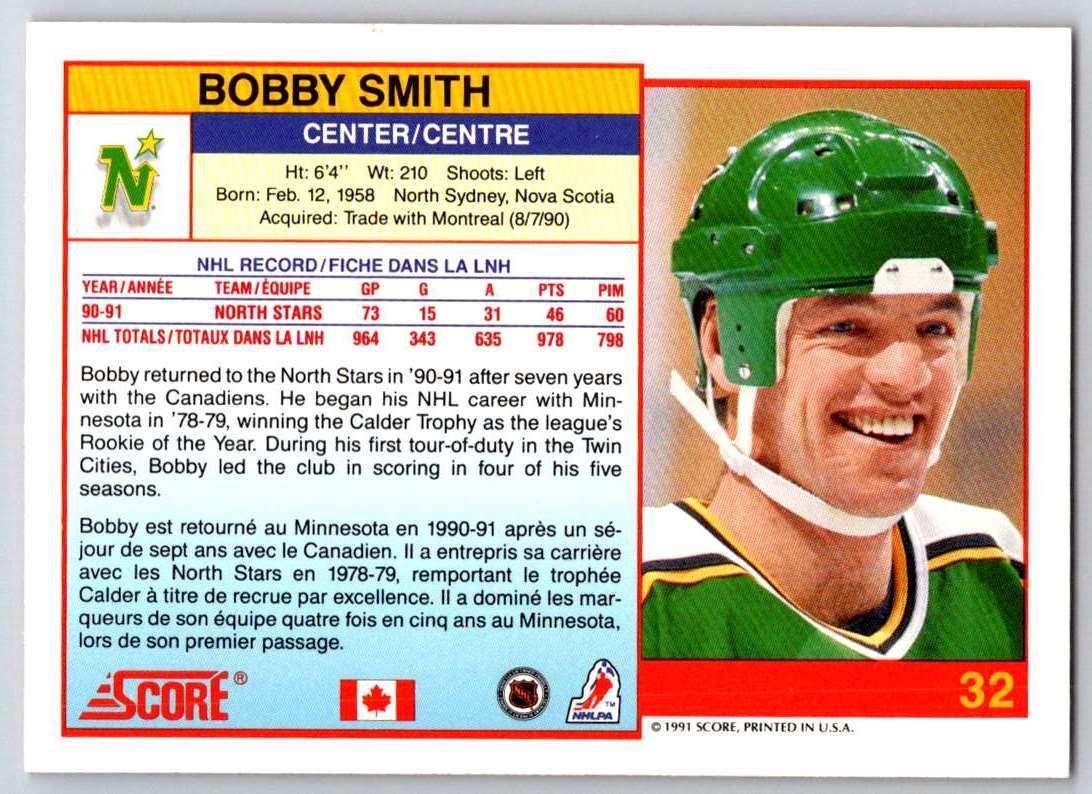 1991-92 Score Canadian Bilingual Bobby Smith #32 card back image
