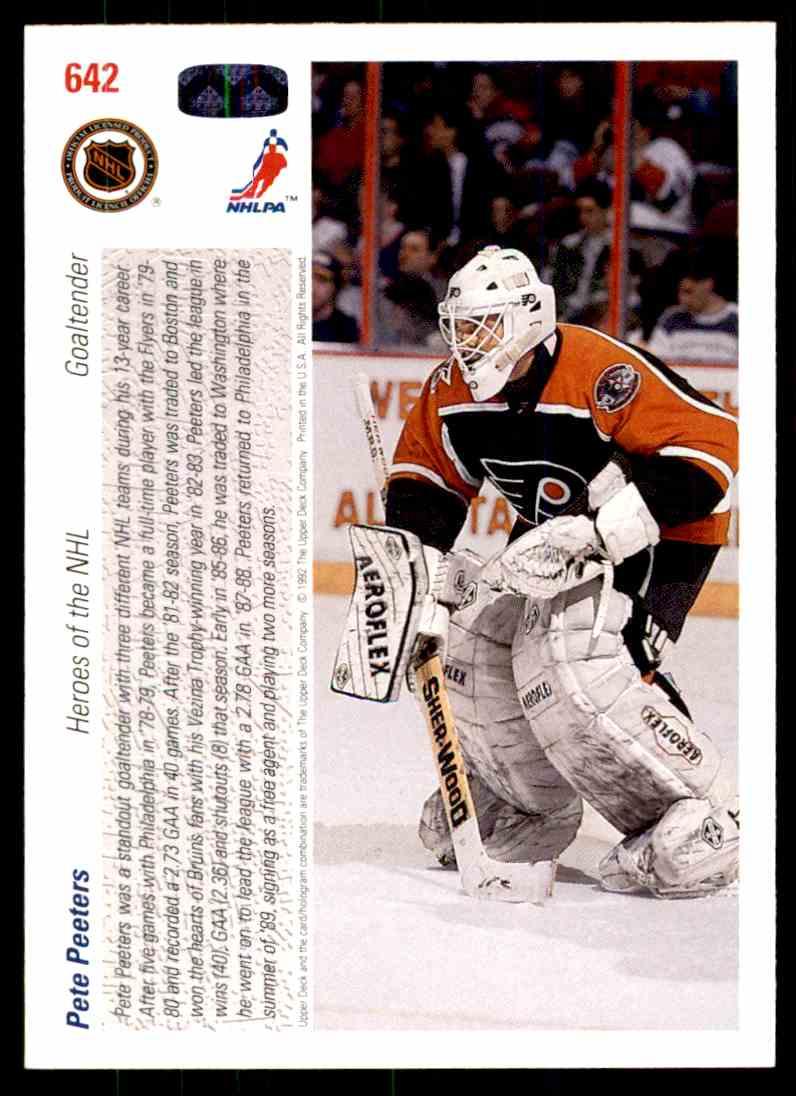 1991-92 Upper Deck Pete Peeters #642 card back image